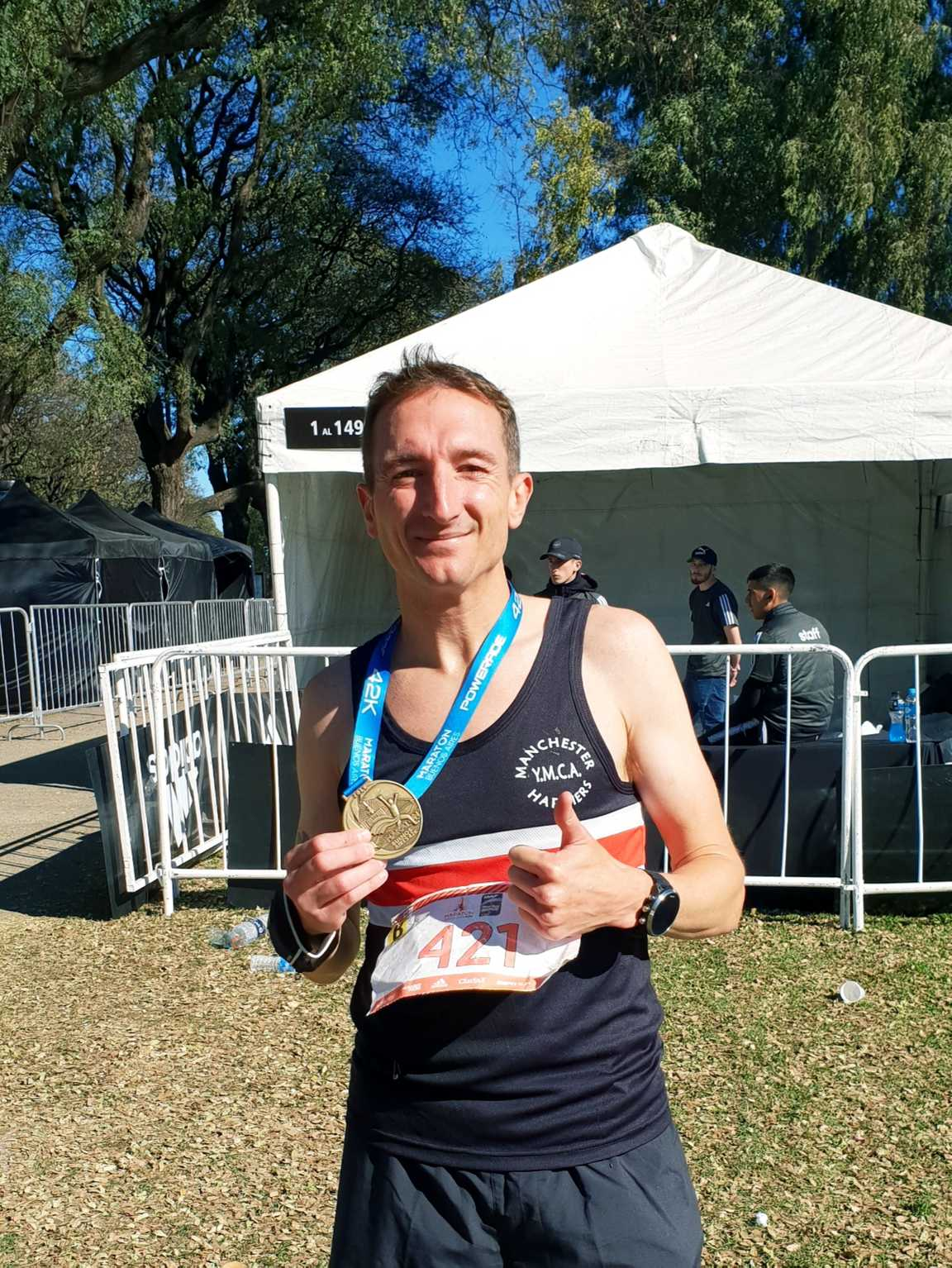 Craig Jones with his Buenos Aires marathon finisher's medal