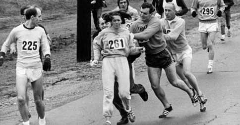 Race organisers tried to force Kathrine Switzer off the course in 1967, but a fellow University student helped keep her on track.